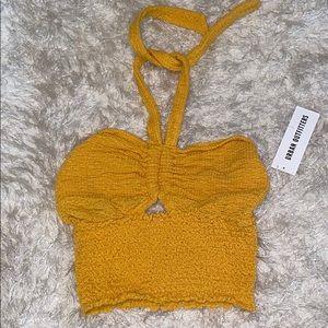Mustard yellow, crop/halter top